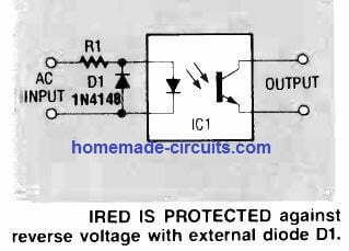 protection against reverse input voltage for optocoupler