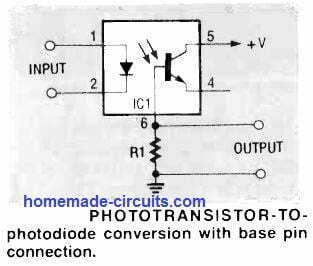 how to convert optocoupler output phototransistor to photodiode