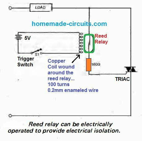triac switching using reed relay and coil
