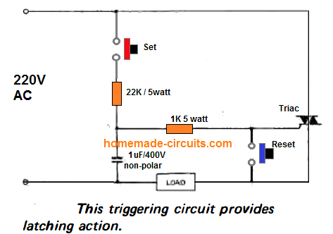 set reset latch using triac