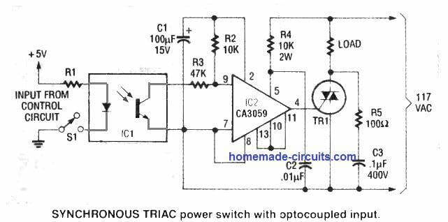 how to interface optocoupler with zero crossing triac and inductive load