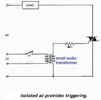 triac switching through a isolated transformer