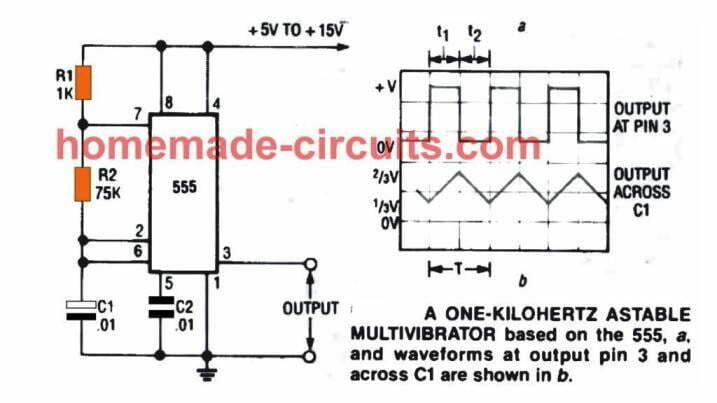 1 khz oscillator circuit using IC 555