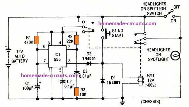manually activated car headlight timer circuit using IC 555