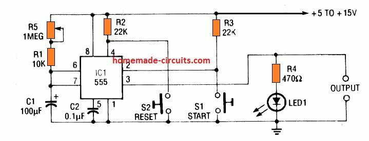 simple IC 555 timer circuit with set and reset facility