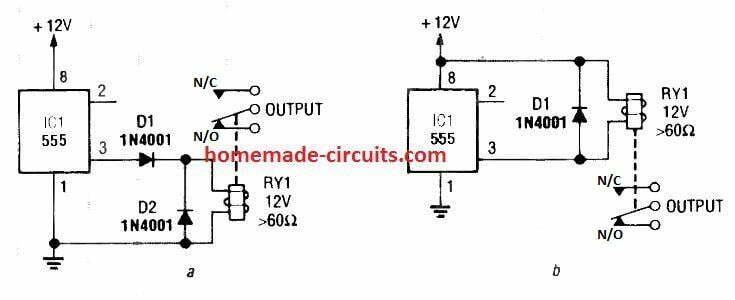how to connect a relay with IC 555 output pin 3 safely
