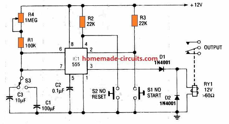 selectable two range IC 555 timer circuit