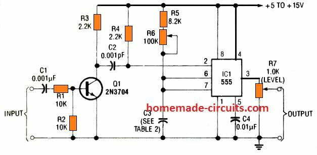 how to trigger pin 2 of IC 555 monostable with a transistor differentiator stage