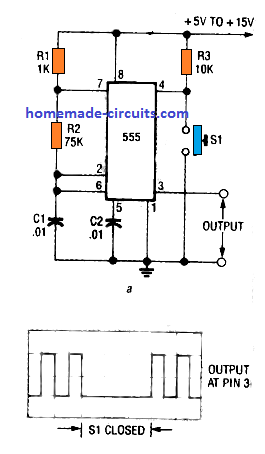 using pin 4 reset of IC 555 to interrupt oscillator frequency