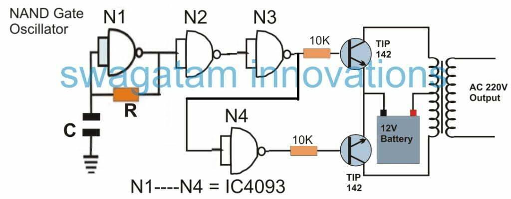 nand gate 220V inverter circuit