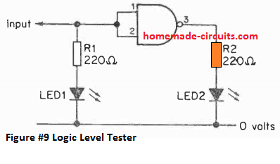 Logic level indicator circuit using a single NAND gate