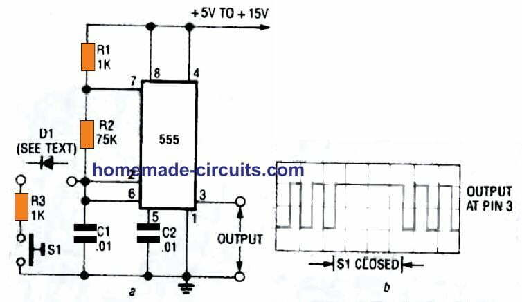 using pin 2 of IC 555 to interrupt its oscillatory frequency