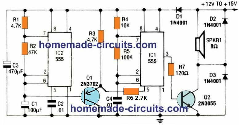 police siren sound effect using IC 555 circuit