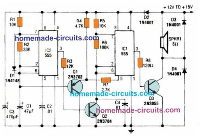 red-alert star trek alarm circuit using IC 555