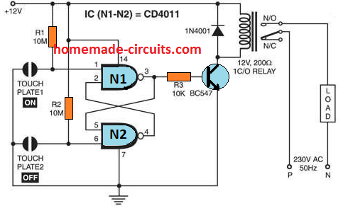 nand gate touch switch