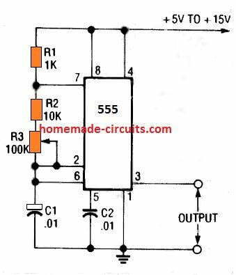 Simple variable IC 555 oscillator circuit