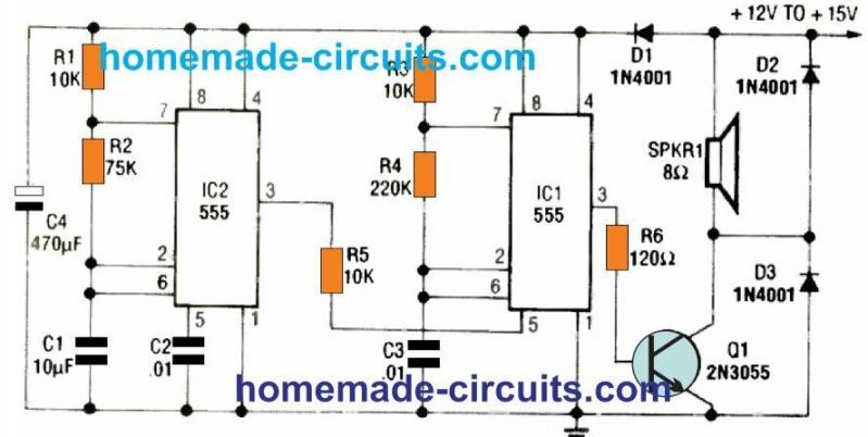 Warble alarm circuit using the IC 555 astable