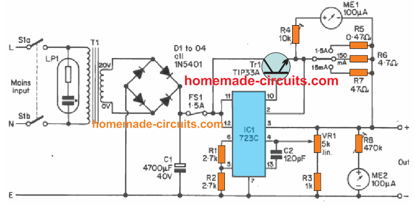 IC 723 power supply circuit diagram
