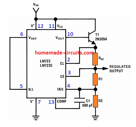 Basic IC 723 voltage regulator circuit with constant output voltage and constant output current
