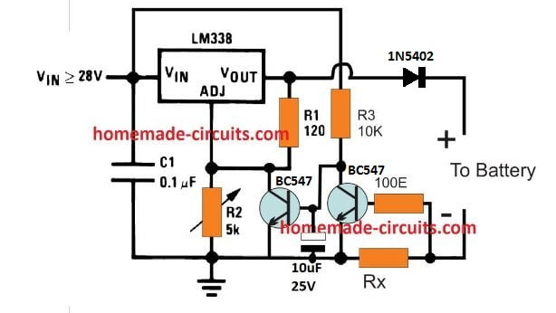 battery current indicator circuit  current triggered