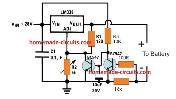 LM338 current detected battery charger circuit