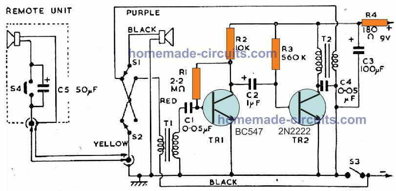 transistorized intercom circuit