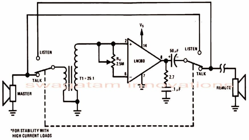 simple intercom circuit using op amp IC LM380