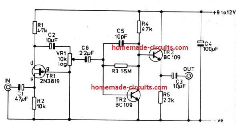 low impedance adjustable preamplifier circuit