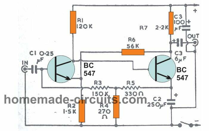two transistor pre-amplifier circuit