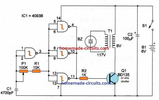 simple ultrasound pest repellent circuit