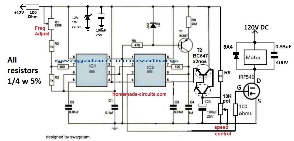 120 DC motor speed controller circuit