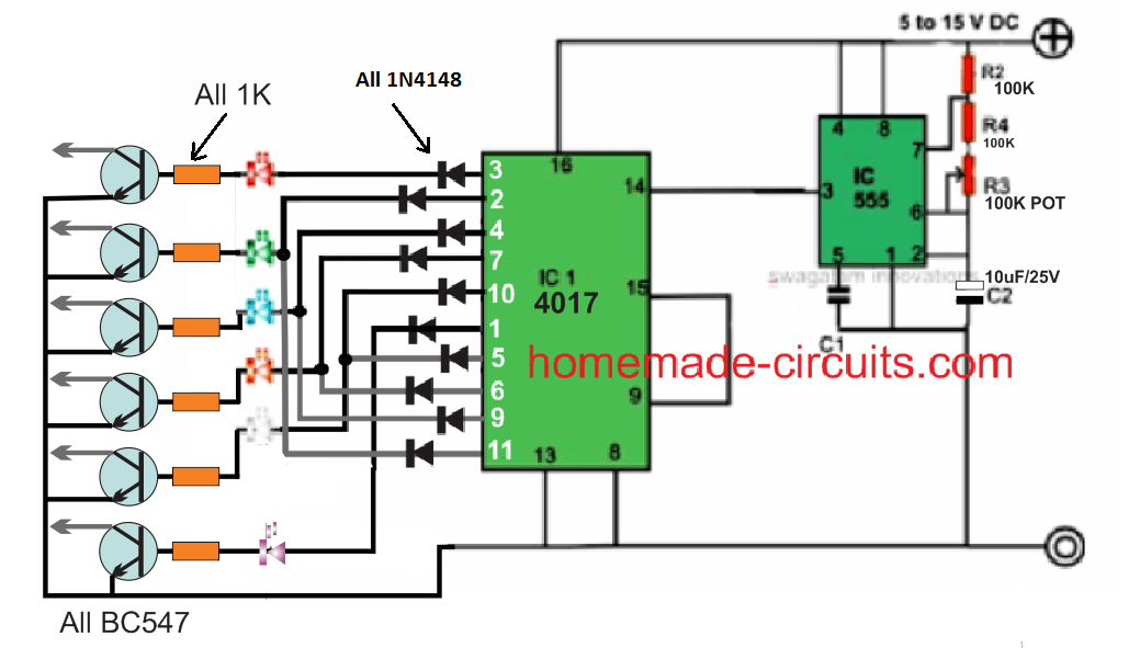 20 forward reverse LED chaser circuit