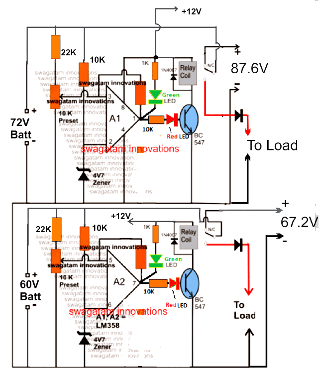 70 V battery charger circuit dual