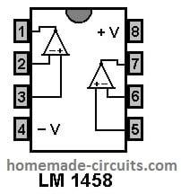 LM1458 pinout diagram