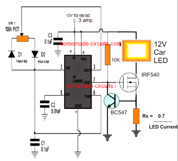 car headlight PWM intensity control circuit