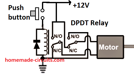 DPDT relay motor reverse forward circuit