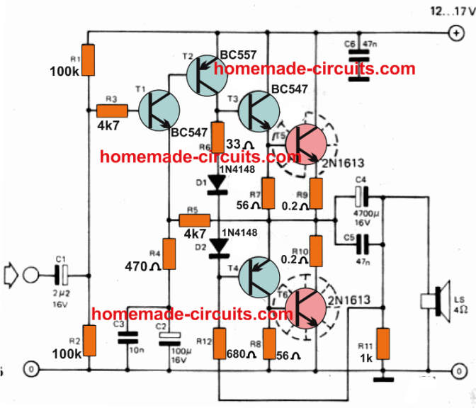 5 Watt Stereo Amplifier Circuit with Bass Treble Controls   Homemade Circuit  Projects   Bass Amp Wiring Diagram      Homemade Circuit Projects