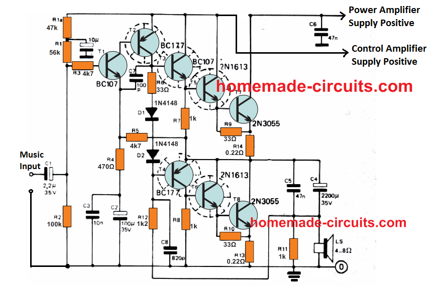 40 watt transistorized power amplifier circuit