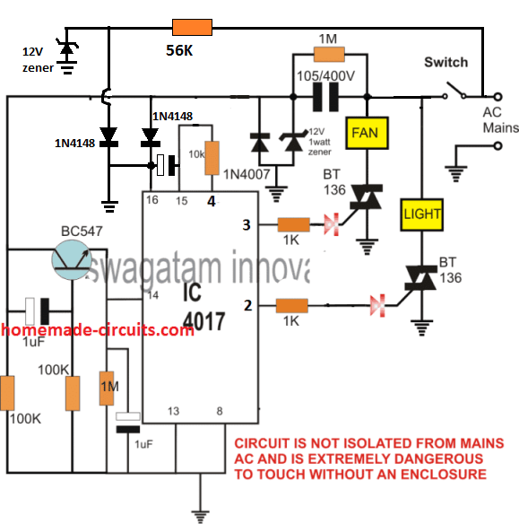 switching two sequential AC loads using IC 4017