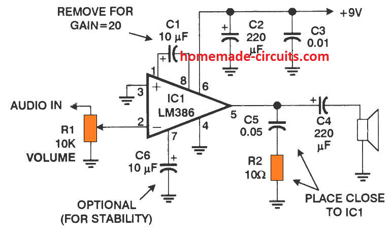 Lm386 Amplifier Circuit Working Specifications Explained Homemade Circuit Projects