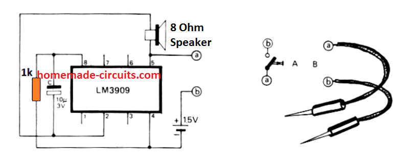 simple continuity tester circuit using LM3909 IC