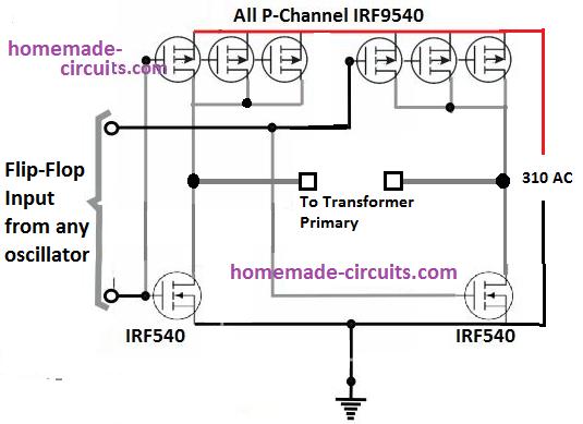 p channel full bridge topology