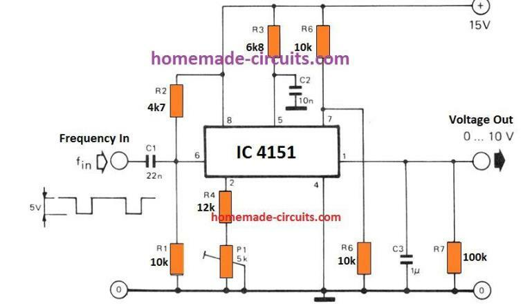 frequency to voltage converter circuit using IC 4151 with high linear conversion ratio of 1V/kHz