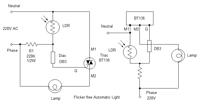 triac, diac LDR automatic night lamp circuit