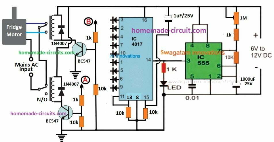 fridge motor wiring with 4017 timer circuit with reverse forward