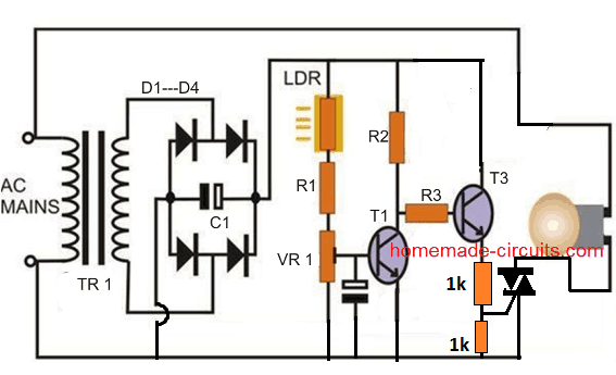 triac based day night switch trigger circuit