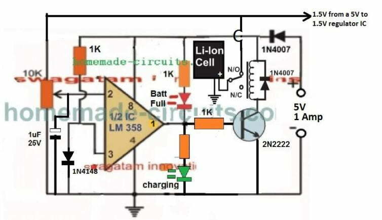 1.5 V Li-Ion battery charger circuit with suto cut off