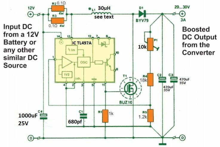 3 amp 12 V to 30 V variable converter circuit