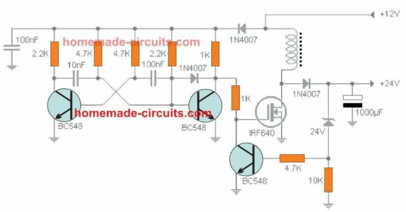transistorized boost converter circuit for 12V to 24V laptop charger application