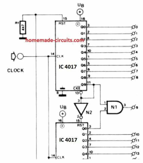 how to cascade any number of IC 4017 together
